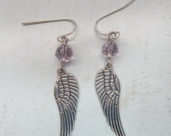 Winged Earrings with Pink Beads