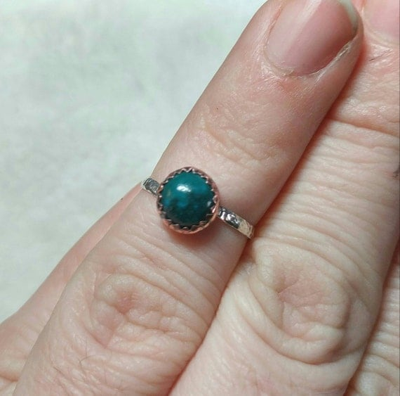 Ring for Country Girl | Chrysocolla Ring | Sterling Silver Ring Sz 5.25 | Mixed Metal Ring | Copper | Gift for Cowgirl | Blue Stone Ring
