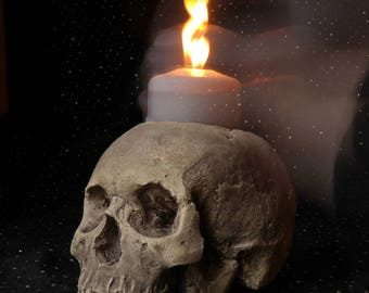 SKULL CANDLE HOLDER (natural) full size human skull candle holder made from plaster of Paris and painted for a weathered appearance