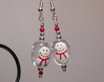 Glass Snowman  Hanging Earrings