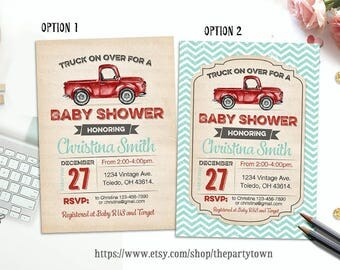 Vintage Truck Baby Shower Invitation, Rustic Wood Shower, Retro Invite, Red Truck, Red Truck, Truck, Baby Boy, Printable