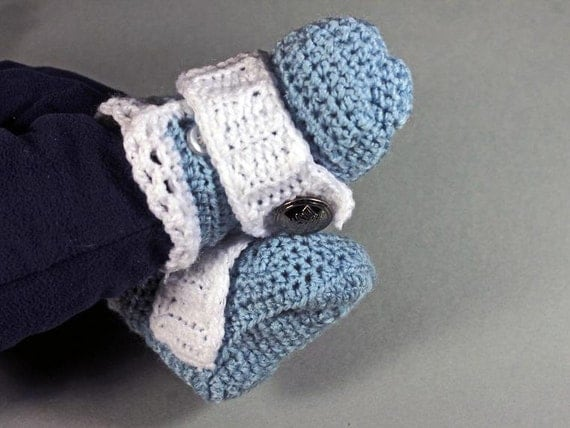 Blue Baby Booties, Crochet, Boys Baby Booties, Handmade, Infant Booties, 0-3 months, Button Accent, Baby Shower Gift