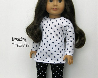 18 inch doll clothes AG doll clothes black and white dots tunic top and leggings