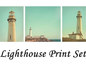 Pigeon Point Lighthouse Photography California Coast Nautical Theme Photos Canvas Print Set Pictures in Teal Green Color Boys Room Decor