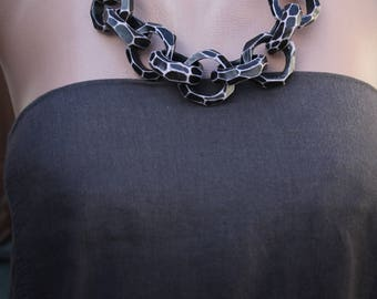 Statement Necklace Chain Link Necklace Chunky Necklace Unique Necklace Gift for Mom Rustic Necklace Original Necklace for Mom Large Jewelry