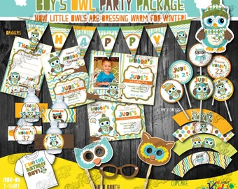 WINTER Owl Birthday party package,owl Party package, First Birthday Owl party,1st Birthday winter party, boys party,owl birthday bash