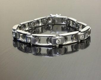 14K White Gold Diamond Men's Bracelet - 14K Gold Men's Diamond Bracelet - White Gold Men's Diamond Link Bracelet - 14K Diamond Bracelet