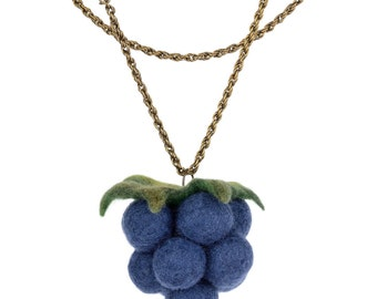 Blackberry pendant on a chain - kawaii pendant for women & teens - large fruit necklace - long pendant with blackberry, summer jewelry [N41]
