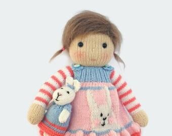 Waldorf inspired doll, girl gift, hand knit doll,  plush doll toy, handmade doll, stuffed doll, kids toy doll ready