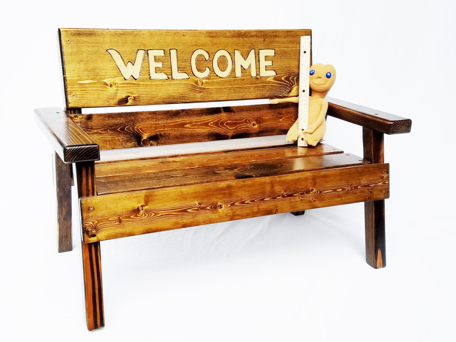 Welcome Sign Wood Bench Kids Toddler Outdoor Patio Bench