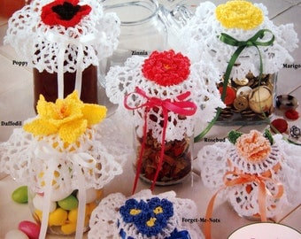 Floral Jar Lid Covers 12 Designs To Crochet By Maggie Weldon Vintage Crochet Pattern Booklet 1992