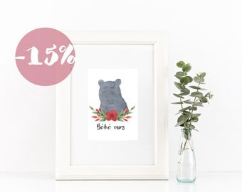 "NEW - Nursery print with french quote ""bébé ours"""