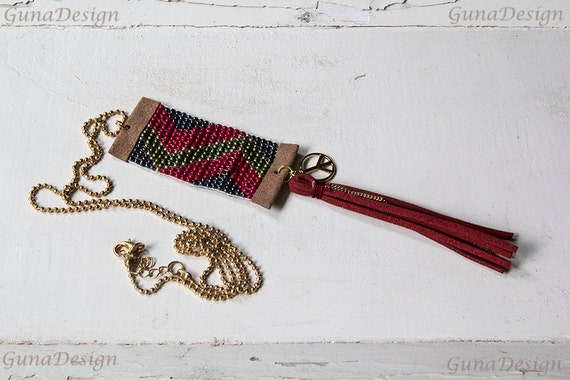 Beaded Boho Style Necklace with Tassel by GunaDesign