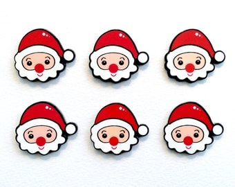 5 pcs - Cartoon Santa Claus Resin Flatback Cabochon - 33mm - Red Nose - Christmas - Holiday - Kawaii - Decoden - DIY