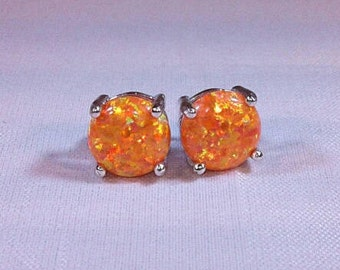 Simulated Orange Mexican Fire Opal Earrings|Lab Created Orange Opal Studs|8mm Orange Fire Opal Posts|Fire Opals|October Birthstone Jewelry