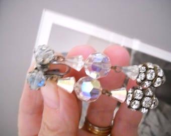 Vintage Crystal earrings Long Shoulder Dusters Dangle Drop Aurora Borealis Rhinestone Beaded Clip on Hollywood Regency Mid Century Bling