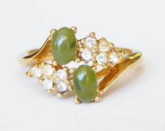 Vintage Jade And Clear Crystal Ring Size 7 1/2 Marked 8 And Double-Sided Arrow Through H