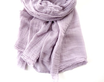 Lavender Gray Scarf, Thistle, Pastel Purple Scarf, Lavender Cotton Scarf, Extra Long Lilac Cotton Scarf, Lightweight Spring Summer Gauze