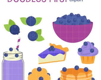 All About Blueberries Clip Art for Scrapbooking Card Making Cupcake Toppers Paper Crafts