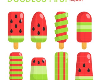 Watermelon Ice Pops Clip Art for Scrapbooking Card Making Cupcake Toppers Paper Crafts