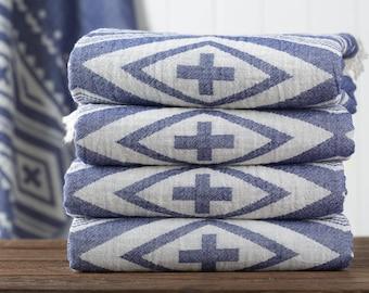 Tribal Kilim Towel, Bath Towel, Turkish Towel, Peshtemal, Hammam Towel, Navy