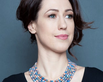 Colorful necklace-Ethnic necklace-Bib necklace colorful-Ethnic necklace woman-Ukrainian jewelry-Bib ethnic necklace-Layered necklace bib