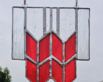 Red Art Deco Stained Glass Sun Catcher Geometric - Art Deco Suncatcher Red Stained Glass Art Deco Prairie Design Window Hanging