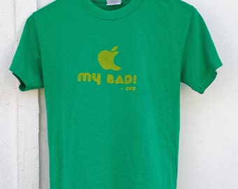 Funny Eve and Apple Vintage T Shirt Green 50/50