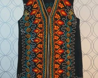 Hand embroidered long vest
