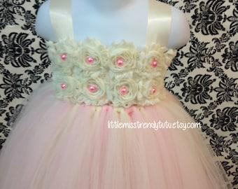 Pink Ivory Flower Girl Tutu Dress, Blush Flower Girl Tutu Dress, Pink Ivory Tutu Dress, Ivory Pink Flower Girl Dress, Tutu Dress, Pink Ivory
