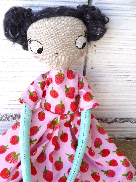 Big eyes Art doll. Organic cotton dress. Strawberries. 32 cm