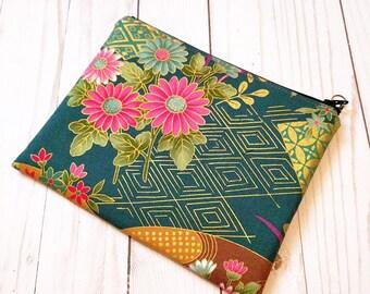 SALE! Japanese Blossom Moss Green Medium Zipper Pouch / Kimono print