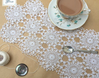 Pretty Cream Cotton Dressing Table Runner - Crochet Table Matt - Hand Crochet Vintage Table Linen - Handmade Floral Design - Daisies Blue