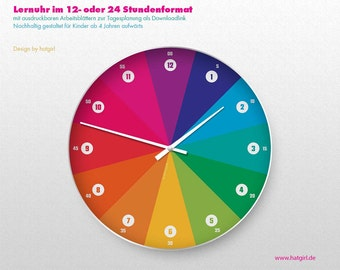 Learning clock + daily planner rainbow color colorful bold colors