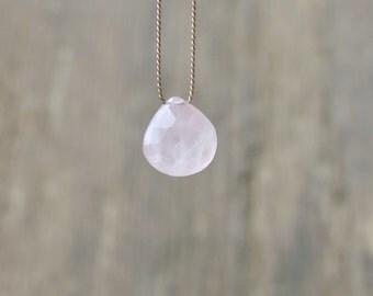 Rose quartz necklace. Minimalist necklace with a small rose quartz briolette.  Minimalist choker with a small faceted rose quartz briolette