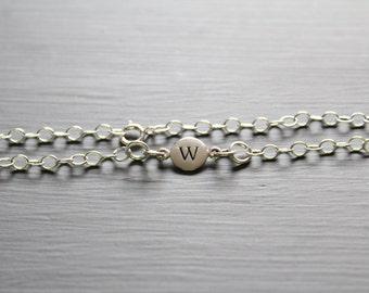 Sterling Silver Simple W Initial Bracelet, Silver Stamped W Bracelet, Stamped W Initial Bracelet, Small W Initial Bracelet, W Bracelet