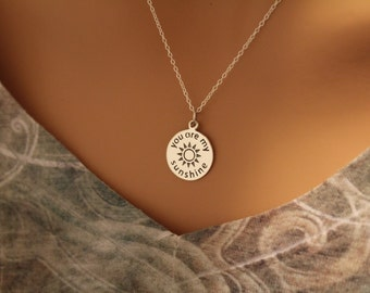 Sterling Silver You Are My Sunshine Charm Necklace, You Are My Sunshine Pendant Necklace, You Are My Sunshine Necklace