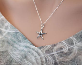 Sterling Silver Starfish Necklace, Silver Starfish Charm Necklace, Starfish Necklace, Ocean Necklace, Underwater Animal Necklace