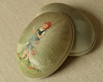 Vintage Hand Painted on Silk Easter Egg Candy Container. German? Spring Decor. Girl in Dirndl Feeding Ducks. Original Art.
