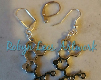 Silver LSD Drug Molecule Earrings on Silver Hooks, Leverbacks or Scalloped Leverback. Anatomy, Molecular, Anatomical, Science, Chemistry
