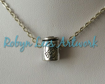 Small Silver 3D Beer Can European Charm Necklace on Silver Crossed Chain or Black Faux Suede Cord. Costume, Different, Alcohol, Lager, Ale