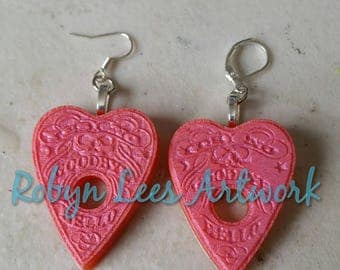 Metallic Pink Red Detailed Small Ouija Board Planchette Resin Earrings on Silver, Gold, Bronze or Gunmetal Hooks or Leverback. Spirit, Ghost