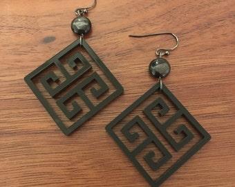 Laser Cut Greek Key Pattern Acrylic Earrings