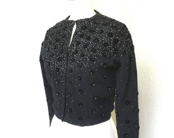 Vintage VLV 1950s 1960s Black Wool Angora Sequin Button Cardigan Sweater - Size Medium M - 38 Bust