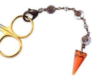 Crystal Scissor Fob, Triangle Pendant Purse Charm, Travelers Notebook Charm, Orange Midori Charm, Stone Zipper Pull Charm, Gift for Sewer