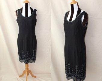 Sale 30% Off 90s Black Flapper Sleeveless Dress Gunmetal Beads Made in India