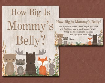 Woodland Baby Shower Game, How Big Is Mommys Belly game, Printable Watercolor Sign and cards, baby Guessing Game, INSTANT DOWNLOAD 016