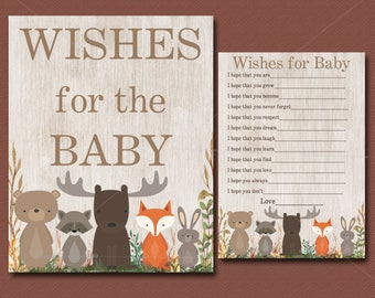 Woodland Baby Shower game, Wishes for Baby Card & Sign, Woodland wishes for baby card - Animal Baby Shower, PRINTABLE INSTANT DOWNLOAD 016