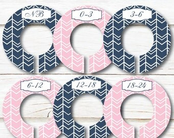 Baby Closet Organizers, Girl Closet Dividers, Baby closet dividers, Baby shower gift, Pink Navy Clothes Dividers, Pink Tribal Nursery C160