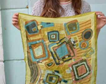 Vintage silk Bandana Scarf, Neckerchief, small kerchief, Neck Scarf, Square Scarf, Neck Tie Scarf, gift under 20
